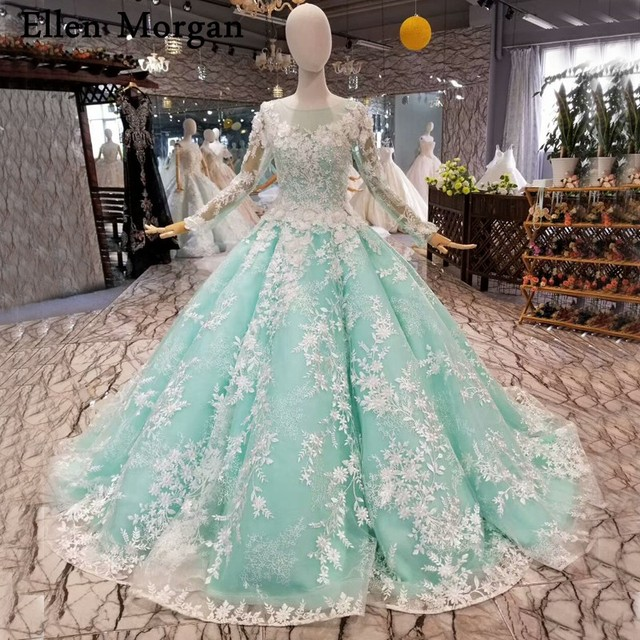 Colorful Long Sleeves Ball Gowns Wedding Dresses 2019 Vestido De Noiva Court Train Mint Lace African Black Girls Bridal Gowns