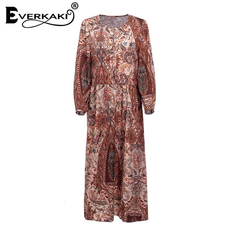 New  Everkaki Paisley Floral Gypsy Maxi Long Dress Elegant Boho Party Dress  Bohemian Print Fall Dresses For Women Clothes 2018-in Dresses from Women s  ... 47c977d5fe8a
