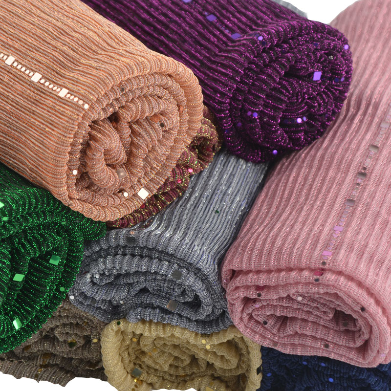 New shimmer pleated hijab plain shiny crinkle scarf with lurex plain glitter shawls Muslim hijab elastic