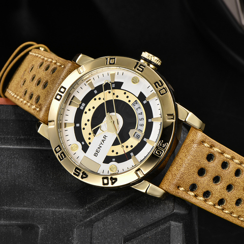 Benyar Watches Men Luxury Brand Quartz Mens Wist watches Military Leather Strap Casual Square Watch Waterproof Reloj de hombre Multan