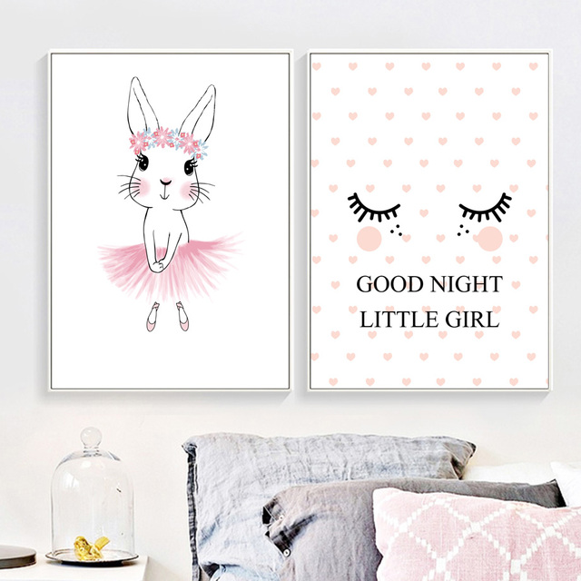 Rabbit Good Night Nordic Posters And Prints Wall Art Canvas Painting Bunny Nursery Decoration Pictures For