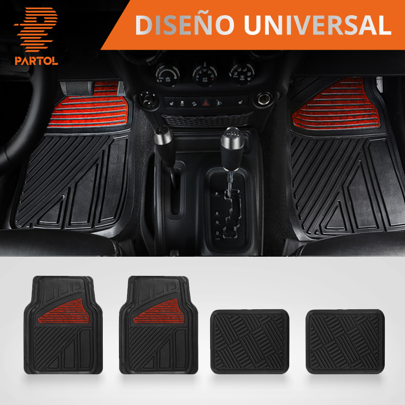 Partol 4pcs/set Universal Car Floor Mats Driver & Passenger Seat Ridged Floor Liner Car Styling Waterproof Dustproof Skidproof