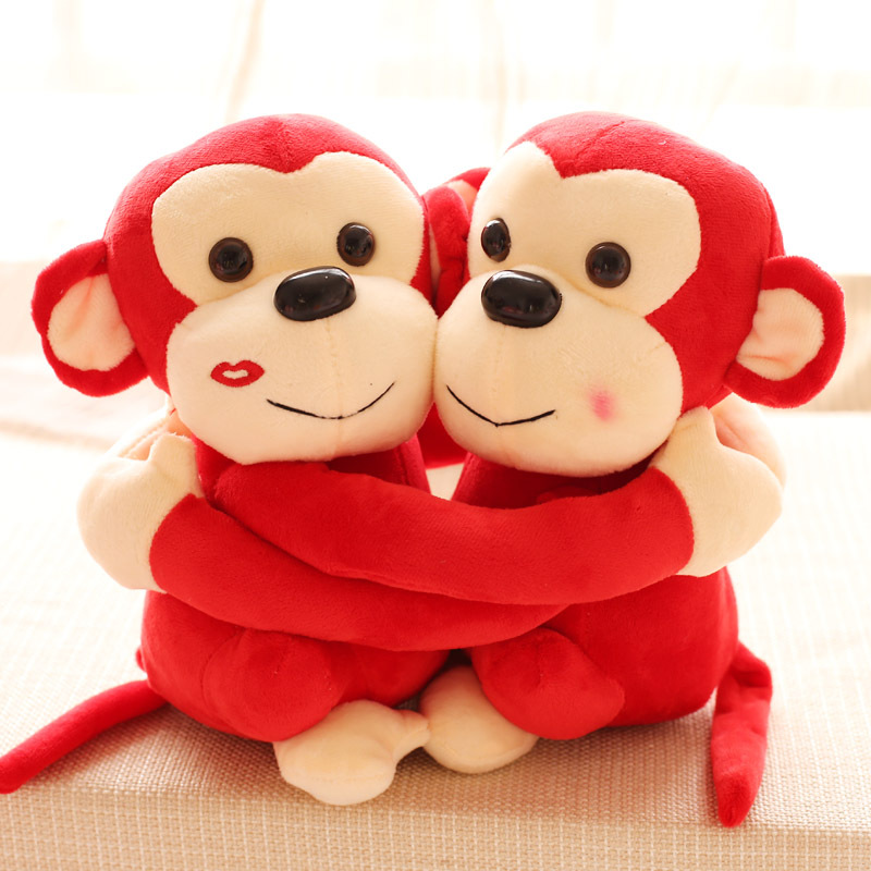 Gift for baby 1 pair 25cm new cuddly sweet lover monkey kiss hug pacify plush hold doll novelty children kids boy stuffed toy