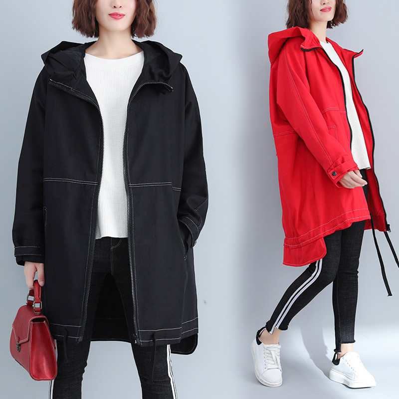 New Women   Trench   Coats 2019 Spring Autumn Hooded Outwear Cardigan Large Size Female Overcoat Pockets Solid Casual Wind Coat N638