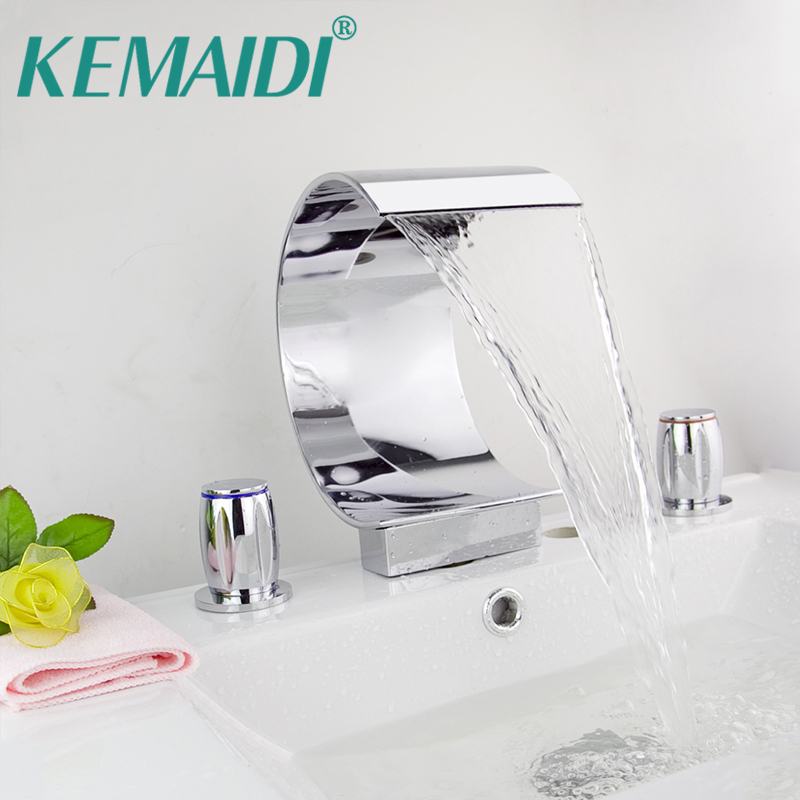 KEMAIDI Hight Quality  Bathroom Mixer Deck Mounted Bathtub Waterfall Basin Mixer Tap Chrome Faucet Set 3Pcs N0010 magnetic levitation floating world map us eu plug c shape led globe map of the world christmas decorations home decor tellurion