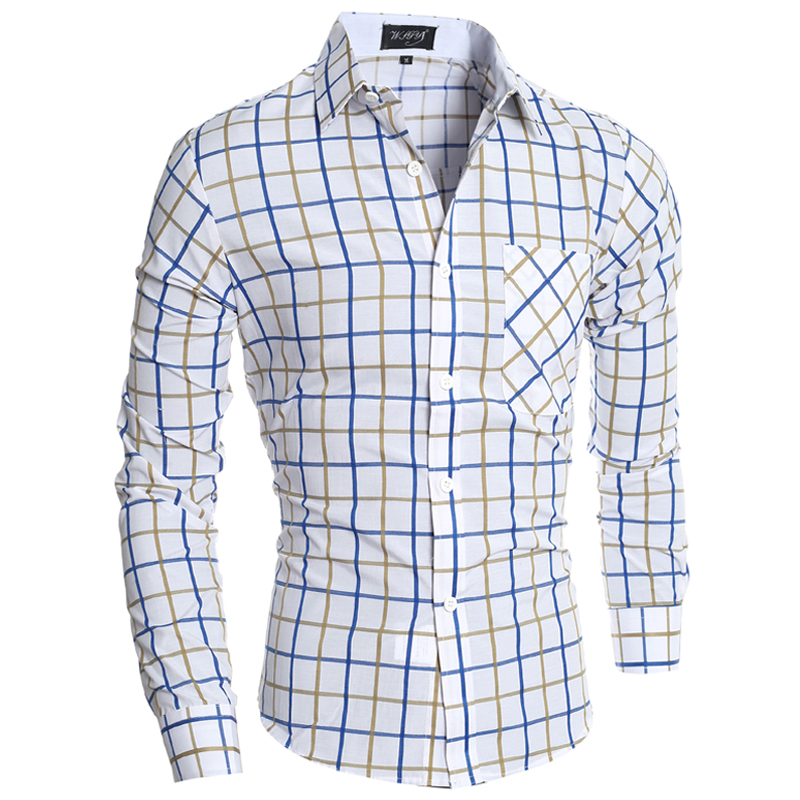 T-Bird 2018 Märke Mans Långärmad Mode Skjortor Casual Man Slim Fit - Herrkläder - Foto 2