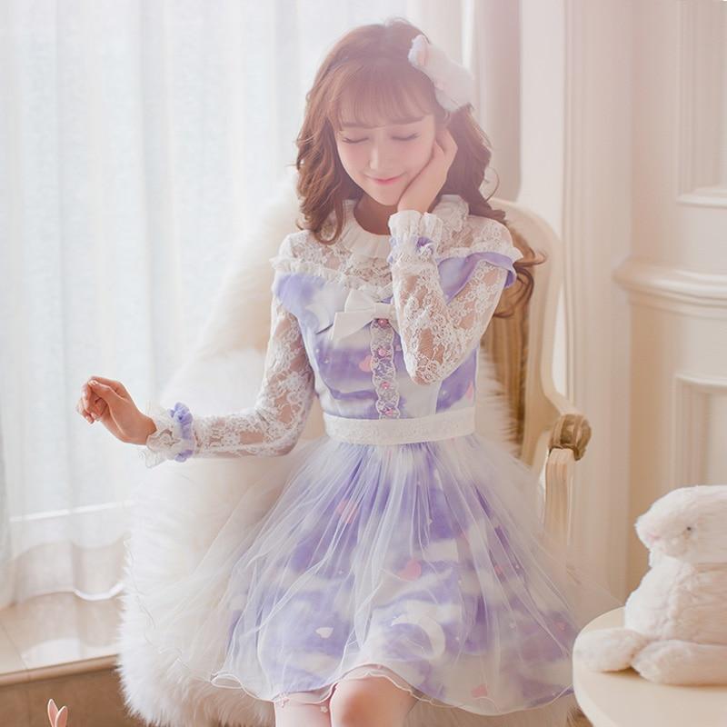Princess sweet lolita dress Candy rain Japanese style Autumn sweet Hollow out Long sleeve chiffon Round