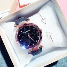 Luxury ladies watch starry leather rhinestone female gift relogio color montre femme