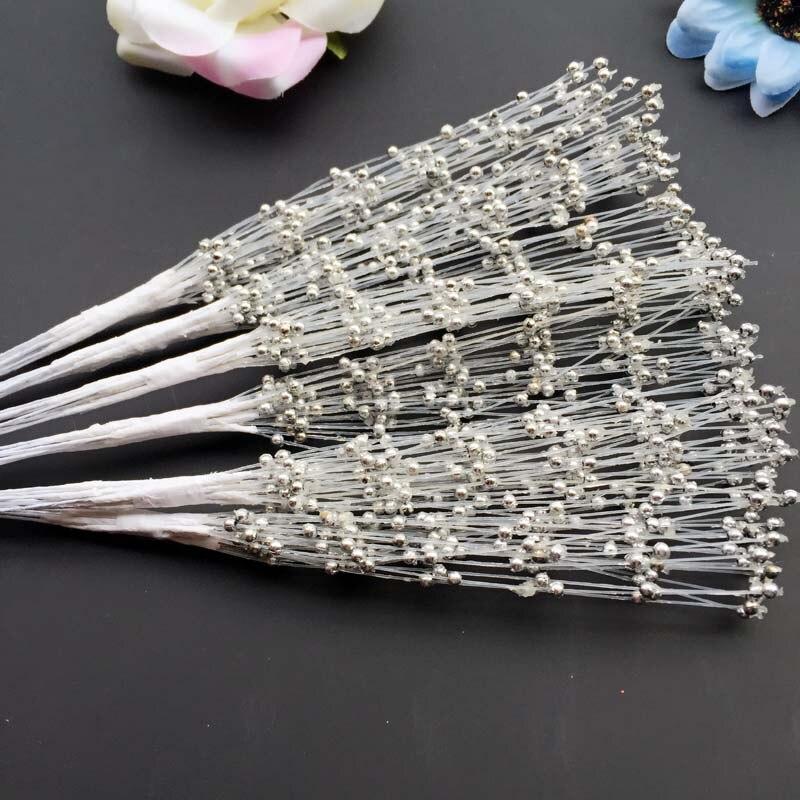 WedFavor 100 шт серебряные 20 см ручной работы жемчужные пластиковые бусины с проволочные стебли для свадебного украшения цветочные аксессуары для волос - Цвет: Silver