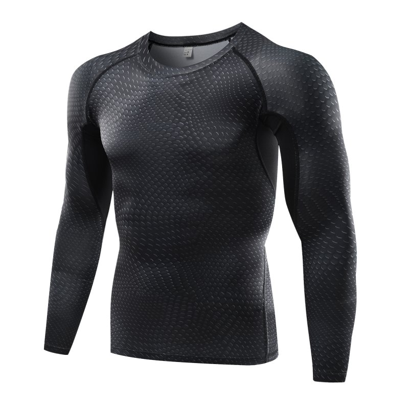 2017 Fitness Gym Running Tops Shirts Men Long Sleeve Compression Base Layer Slim Fit Sports T-shirt Brand Plus Size Tops