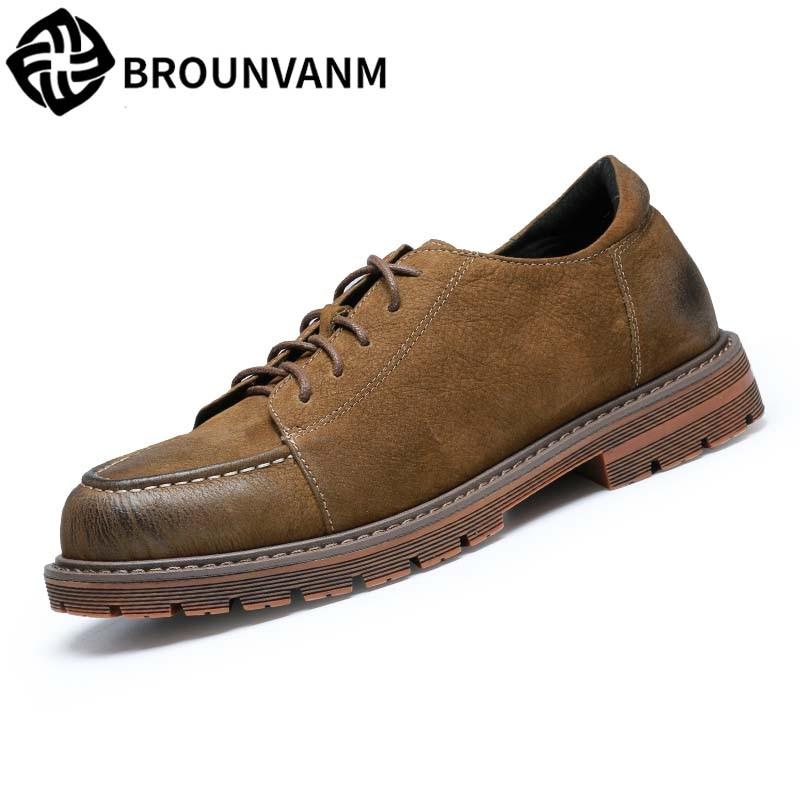 Martins boots men's retro British business casual shoes spring autumn summer British retro all-match cowhide Leisure shoes men цена