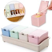 Multi-Color 4Pcs/Set Kitchen Seasoning Storage Box Spices Salt Powder Case Wheat Straw Pp Seasoning Can With Spoon&Tray V3
