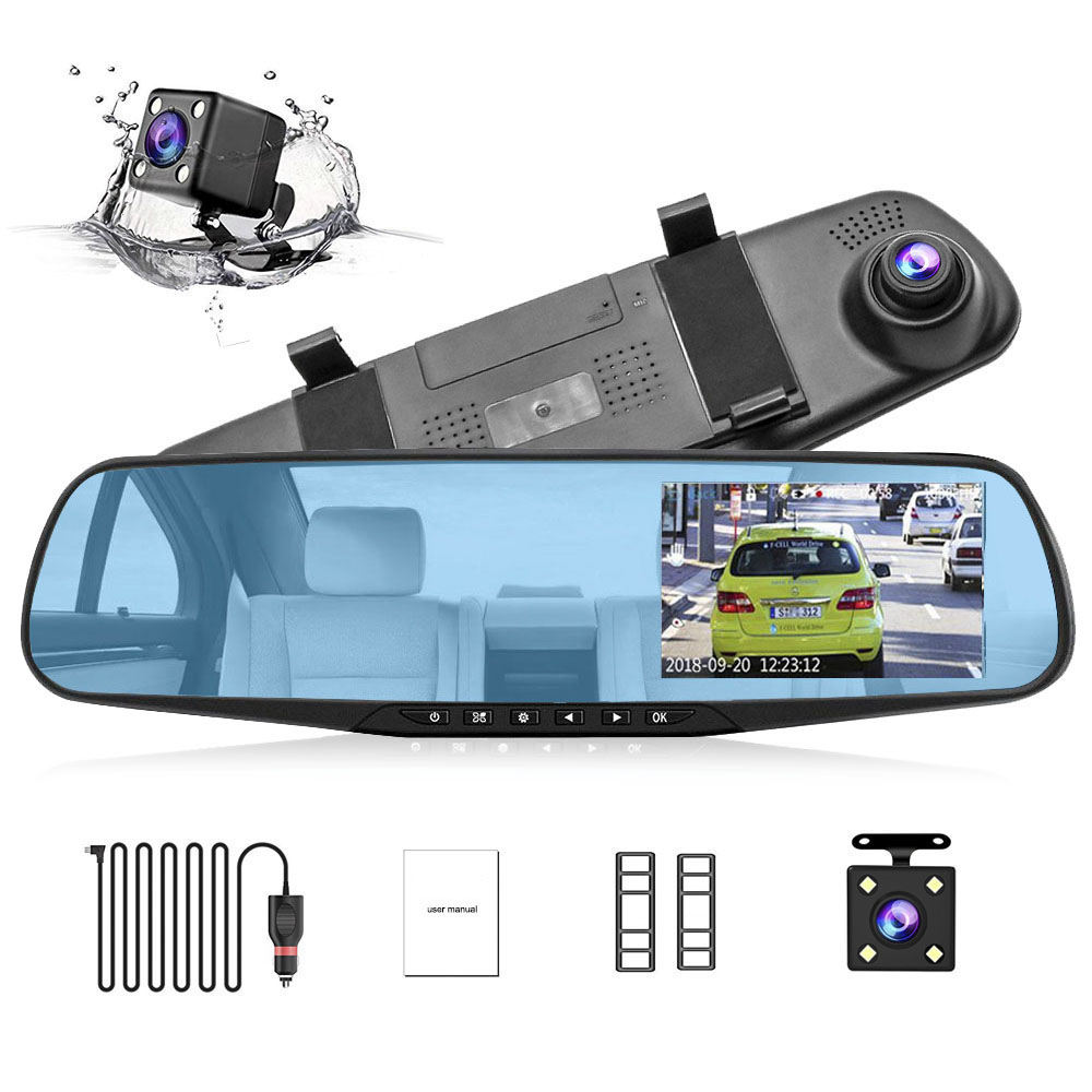 HGDO Car DVR Mirror Dash-Cam Video-Recorder G-Sensor Rear-View-Camera Dual-Lens Autoregistrator-Loop