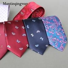 Mantieqingway 7cm Fashion Polyester Ties for Mens Brand Paisley Floral Neck Ties for Suits Wedding Neckties Gravatas Necktie Tie