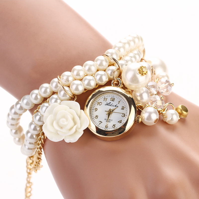 Fashion Luxury Pearl Bracelet Watch Women Watches Ladies Watch Women's Watches Clock montre femme relogio feminino reloj mujer brand kimio reloj mujer fashion women pearl bracelet watches crystal dial quartz watch gold women watches relogio feminino clock