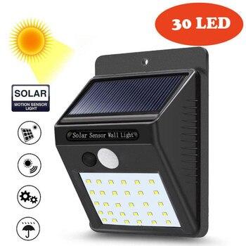 LED Солнечная энергия PIR датчик движения настенный светильник 30 LED наружная Водонепроницаемая энергосберегающая уличная дворовая дорожка дл...