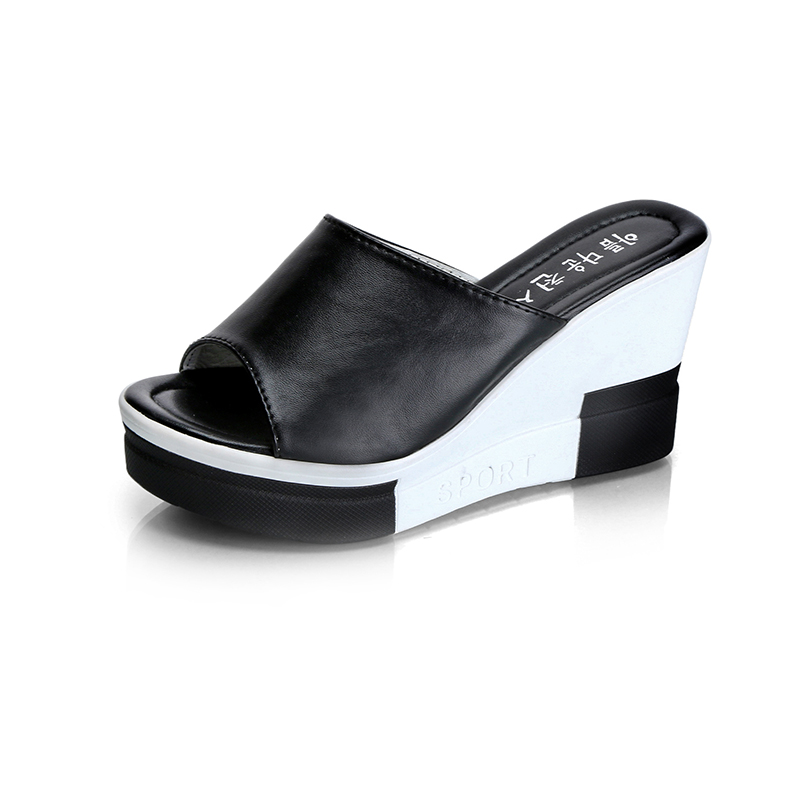 Summer Women Slippers 2017 Comfort Wedge Heels White -8799
