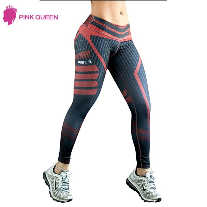 Pinkqueen Womens Sporting Pants 2017 New Fashion High Elastic Waist Push Hip Up Black Ruby 3D Print Yuga Pants Female Trousers
