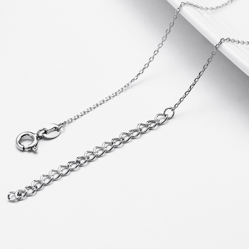Elegant Sterling Silver Small Pendant Necklace High Quality Jewelry White shiny crystal Women 925 silver Charming Suspension in Charms from Jewelry Accessories