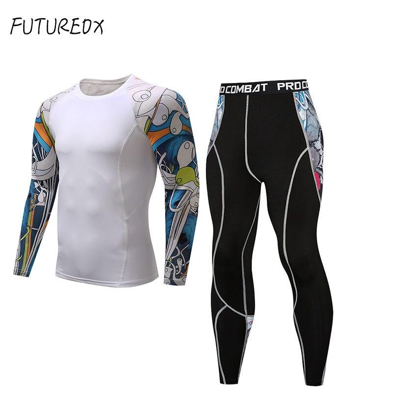 Jiu Jitsu Rashguard manga comprida t-shirt esportes fitness crossfit terno  calças justas de compressão c8ed87563e490