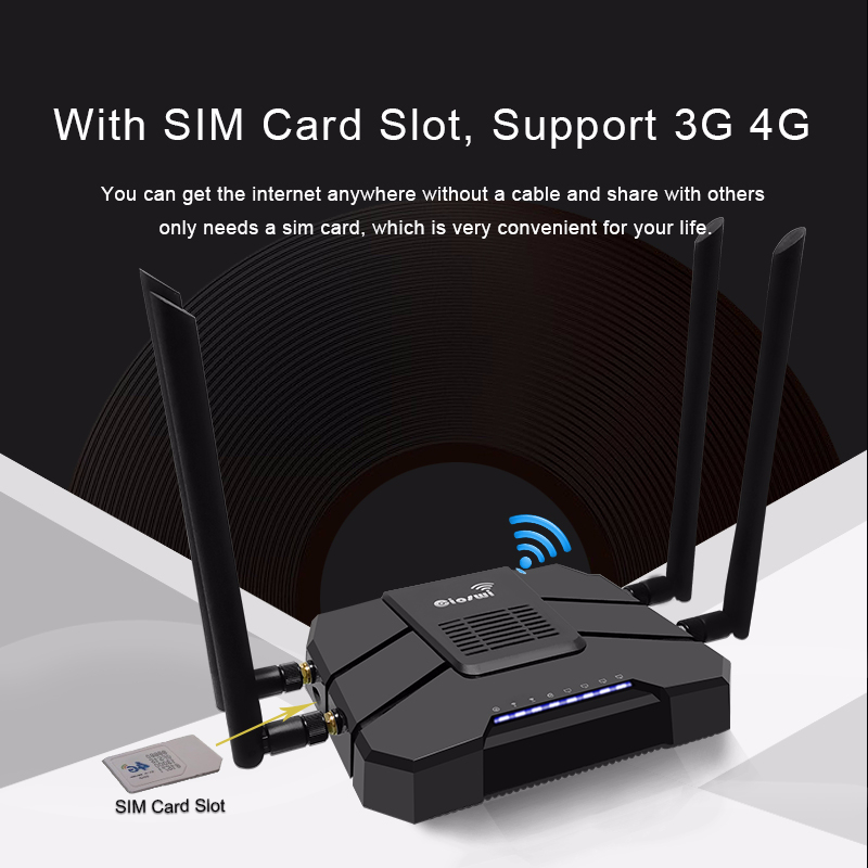 Routeur lte10/100/1000 mbps 11ac 4g carte sim routeur gigabit répéteur wi-fi 2.4g 5g support vpn pptp et l2tp longue portée wifi mesh
