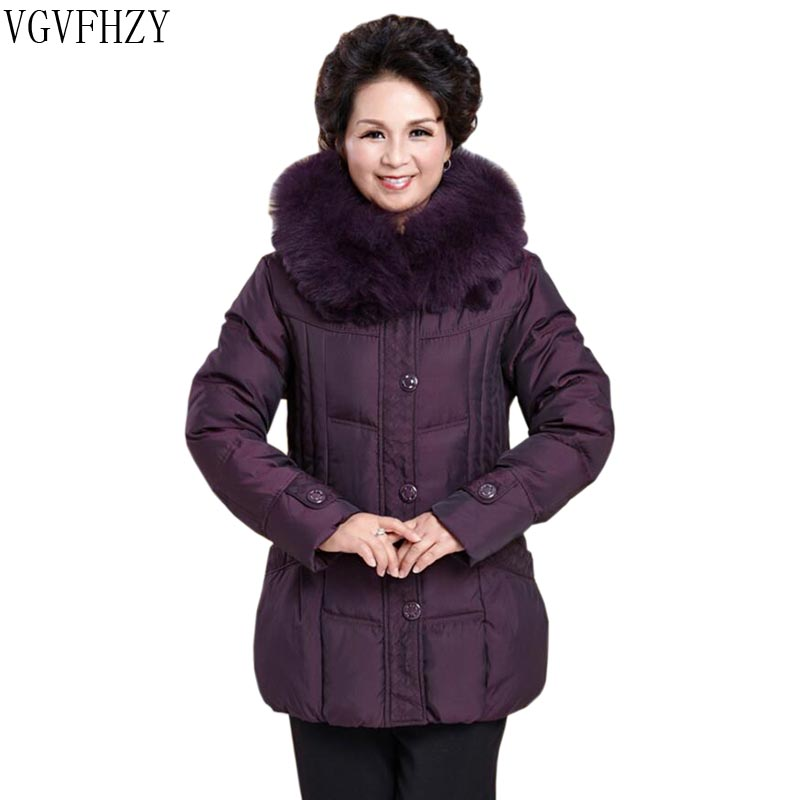 Winter women's jacket 2018 middle-aged white duck down jacket natural fur collar Thick warm coat Plus size mother down Coats
