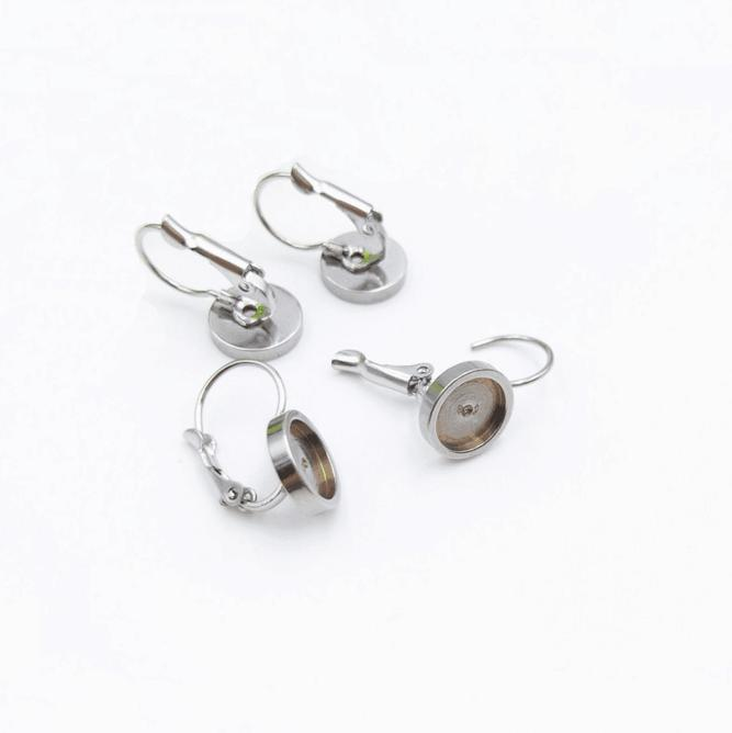 Earring cabochon stud blank settings 12 mm bezel silver plated clip ons