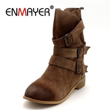 ENMAYER Shoes Woman Winter Boots Cowboy Western Boots Plus Size 33-43 Mid-calf Boots for Women Short Black Light tan Shoes CR673