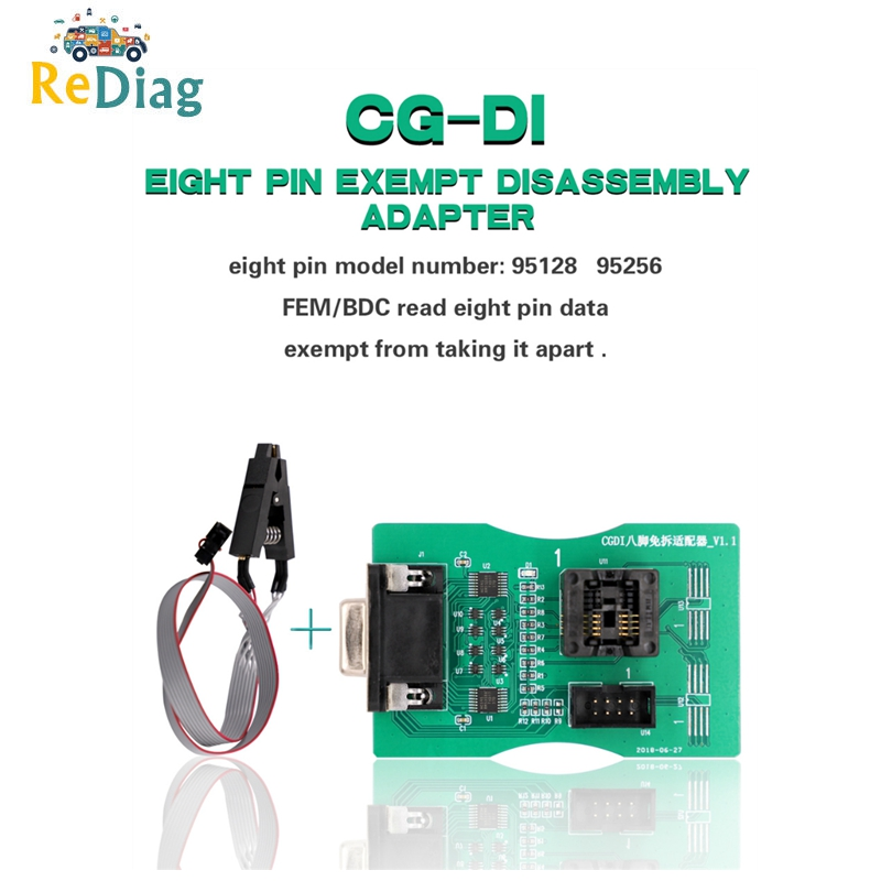Original 8 Pin Exempt Disassembly Adapter For CGDI Prog For BMW Function FEM/BDC Read 8 Pin Data 95128/95256 Works <font><b>XPROG</b></font> <font><b>5.74</b></font> image