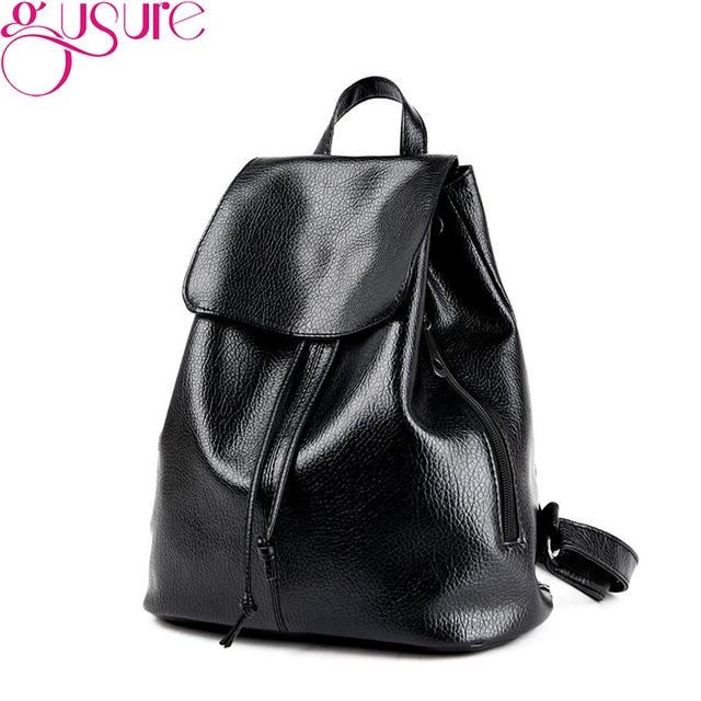 GUSURE New Fashion Leather Backpacks for Women School Book Bags Female  Travel Bag Casual Student Shoulder b378ec48d