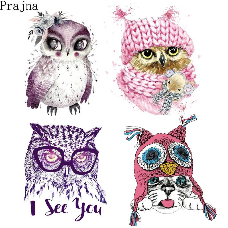 Prajna Bird Owl Heat Transfer Sticker Vinyl Iron On Transfer Printed On Clothing Patches Kids Thermal Transfer Cartoon Appliques