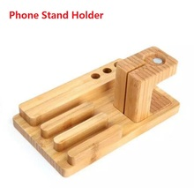 Fashion Multifunction Bamboo Phone Stander Holder for Apple iPhone 5 5s 6 6s Plus Watch iPad Tablet Office Desk Accessories