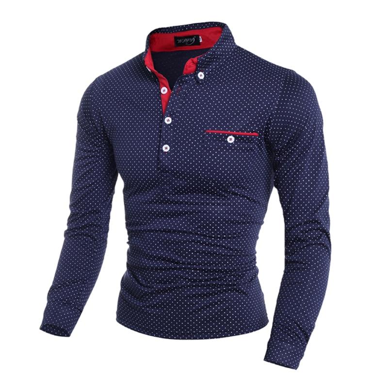 Mens   Polo   Shirt Brands 2018 Spring And Autumn Male Long Sleeve Fashion Casual Slim Polka Dot Pocket Button   Polo   Men's Jerseys