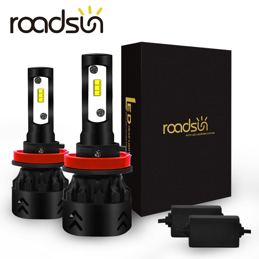 Roadsun LED Headlights Bulbs Led H4 H7 H11 H1 9005 9006 HB3 HB4 Lumileds ZES Chips