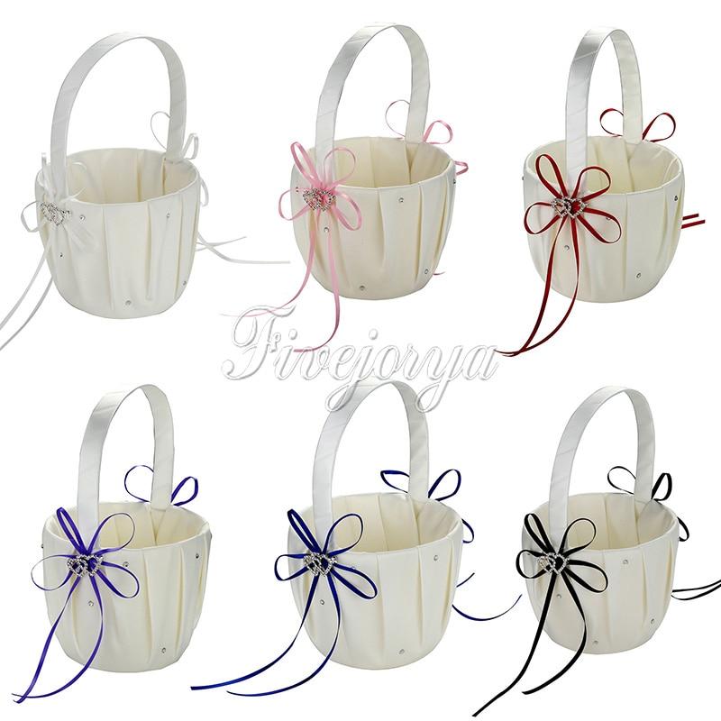 satin ribbon wedding flower basket flower girl basket wedding accessories rhinestone buckle. Black Bedroom Furniture Sets. Home Design Ideas