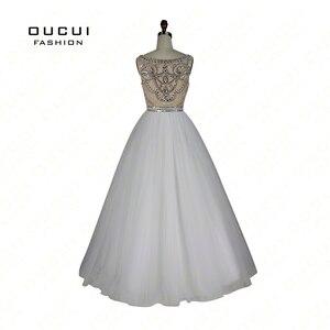Image 4 - שרוולים לבן שמלות נשף 2019 ערב כדור שמלת מסיבת חתונת טול אשליה ואגלי פורמליות Vestido דה noiva OL102830C