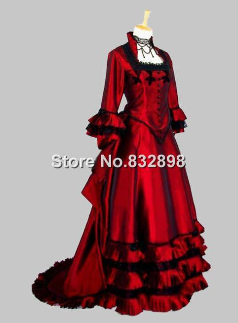 Puffy Satin Gothic Victorian Ball Gown Dress
