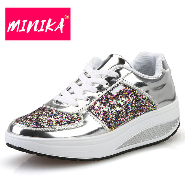 MINIKA 2017 New Women Sneakers Fashion Lace Up Sequin Flat Shoes Women  Comfortable Platform Sneakers Women Casual Shoes ce24be25f
