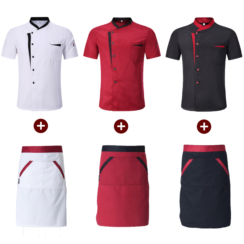 Short Sleeve Spliced Chef Cooking Workwear High Quality 2018 Catering Restaurant Coffee Shop Waiter Uniforms Casual Tops Aprons
