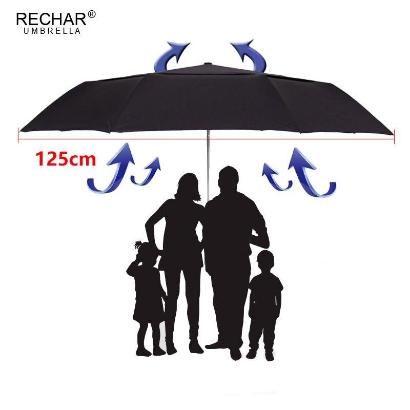 RECHAR marque 125 cm grand Double couche parapluie pour hommes 3 fois coupe-vent haute qualité automatique pluie femmes en plein air fort parapluie