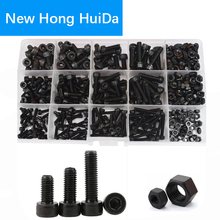Hex Socket Head Cap Screw Hexagon Metric Thread Machine Allen Bolt Nut Black Set Assortment Kit Alloy Steel 12.9Class M3 M4 M5 hex socket head cap screw hexagon metric thread machine allen bolt nut black set assortment kit alloy steel 12 9class m3 m4 m5