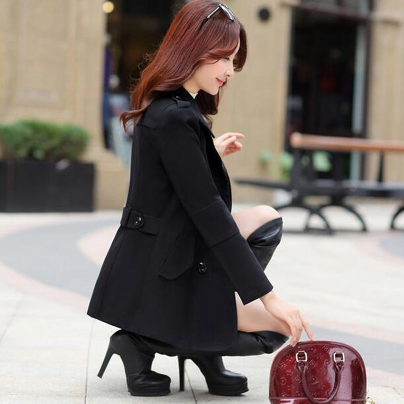 e9ea9607b15 2017 осень-зима новые модные женские шерстяное пальто Двубортный пиджак  Элегантный Bodycon кокон шерстяное длинное пальто однотонные Топы lu304