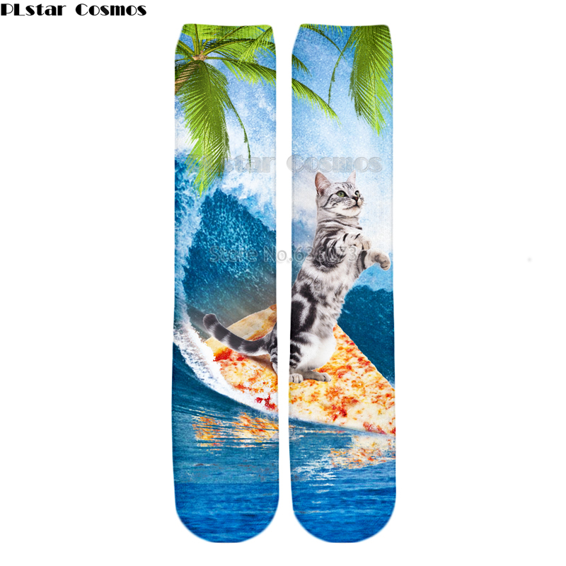 PLstar Cosmos Drop shipping 2018 New style Fashion Knee High Socks Animal Funny cat and pizza Print 3d Men's Women's Sock 1