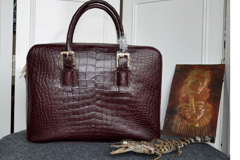 100% Genuine Crocodile Skin  Leather Briefcase Men Laptop Bag Luxury Men Business Bag
