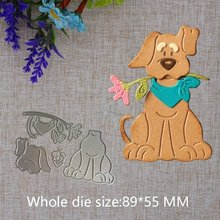 Crazyclown Cute Puppy with Flowers Dog Metal Cutting Dies Craft Paper Card Making Scrapbooking Embossing Die(China)