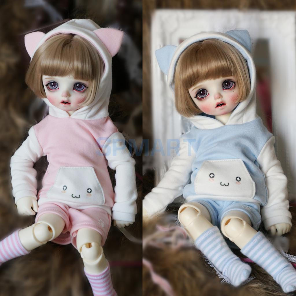 Cute CaCute Cat Ear Hoodie Top Pullover Pants Stockings Outfit For 1/6 BJD SD MSD Doll Clothing Dress Up Accessories slogan print cat ear marled hoodie