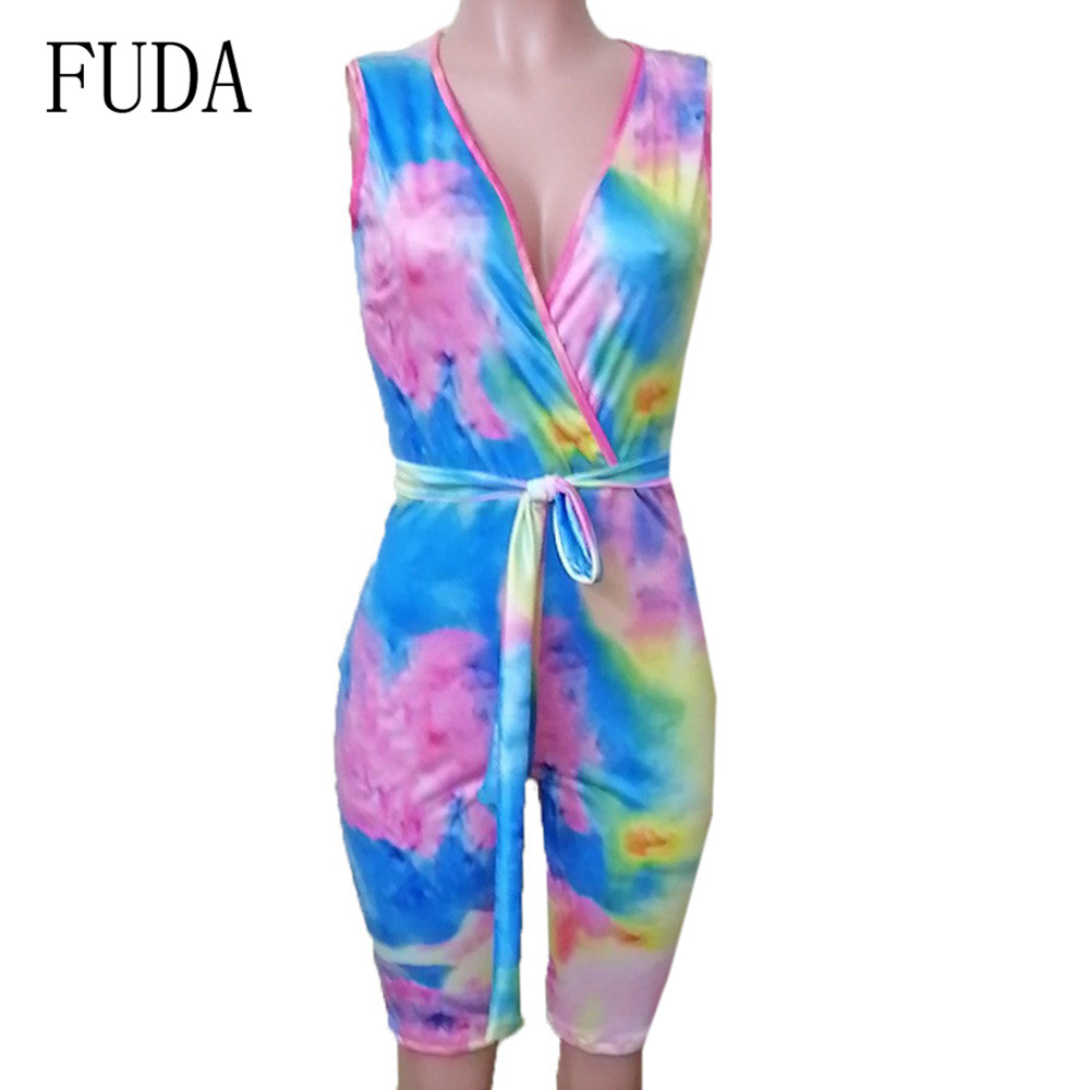 FUDA Blue Vintage Jumpsuits with Belt for Women Sexy Deep V neck Hollow Out Bodycon Bandage Playsuits Summer Retro Overalls in Rompers from Women 39 s Clothing