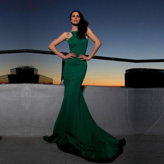 Aliexpress.com : Buy Elegant High Neck Dark Green Mermaid Evening ...