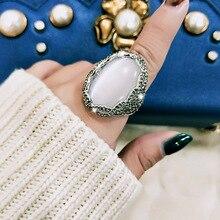 SINLEERY роскошный большой белый опал овальные кольца на палец с сияющим кубическим цирконием серебряный цвет для женщин Свадебная вечеринка ювелирные изделия Jz175 SSH