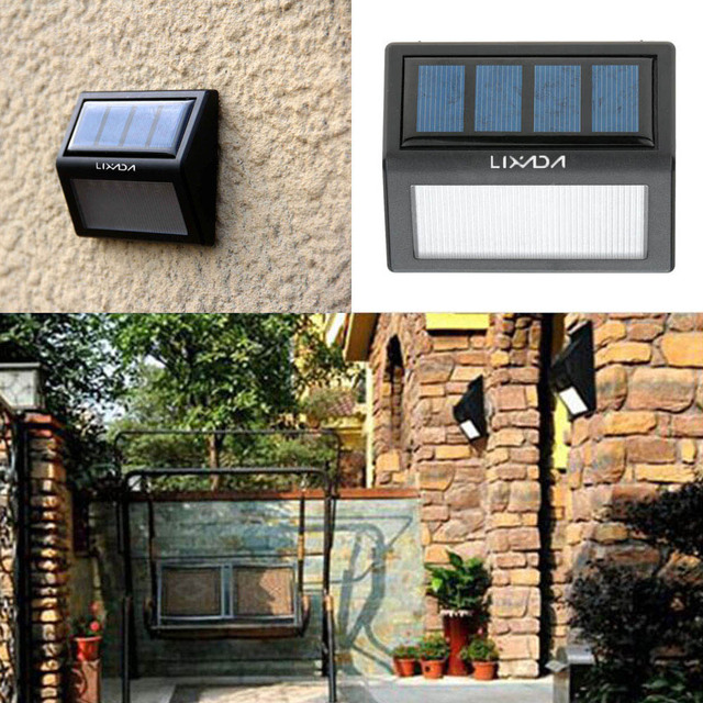 Solar Powered 6 LEDs 0.36W  wall lamp  light sensored Warm Whit color high quality&design Rechargeable for Garden Yard Pathway